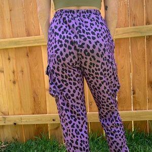 Purple Cheetah Print Rave Joggers